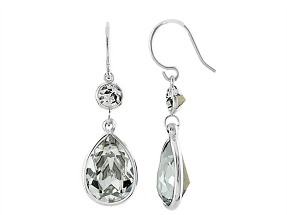 Color Craft 14x10mm Pear Shape with 6mm Round Clear Genuine Swarovski Crystals Drop Ear Wire Earrings