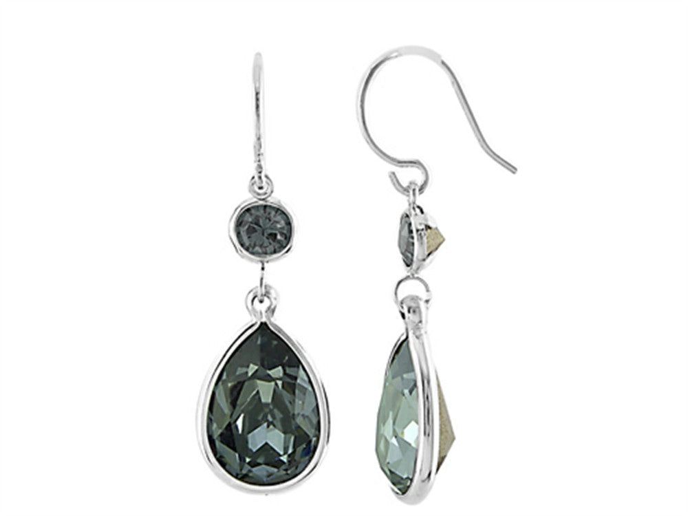 Color Craft 14x10mm Pear Shape with 6mm Round Black Genuine Swarovski Crystals Drop Ear Wire Earrings