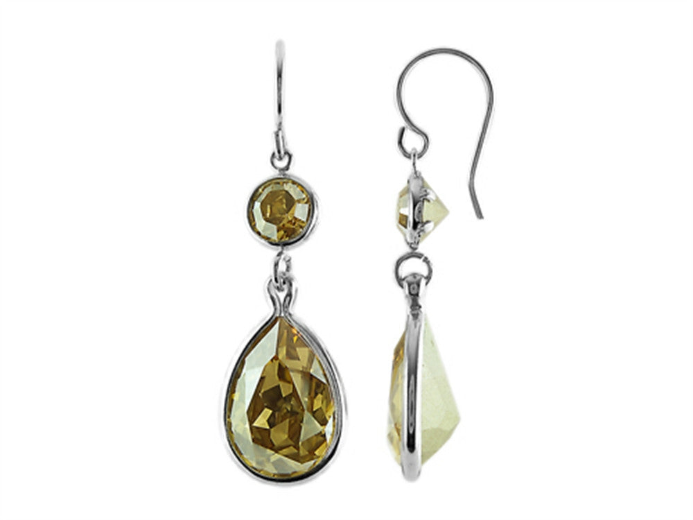 Color Craft 14x10mm Pear Shape with 6mm Round Golden Genuine Swarovski Crystals Drop Ear Wire Earrings