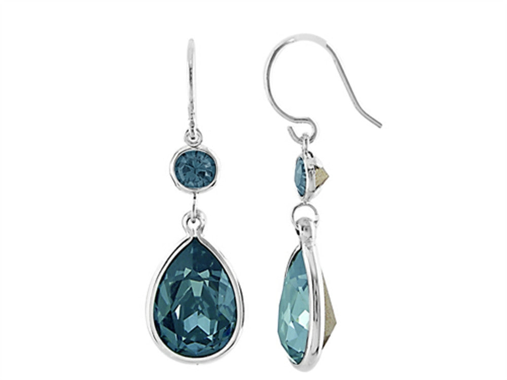 Color Craft 14x10mm Pear Shape with 6mm Round London Blue Genuine Swarovski Crystals Drop Ear Wire Earrings