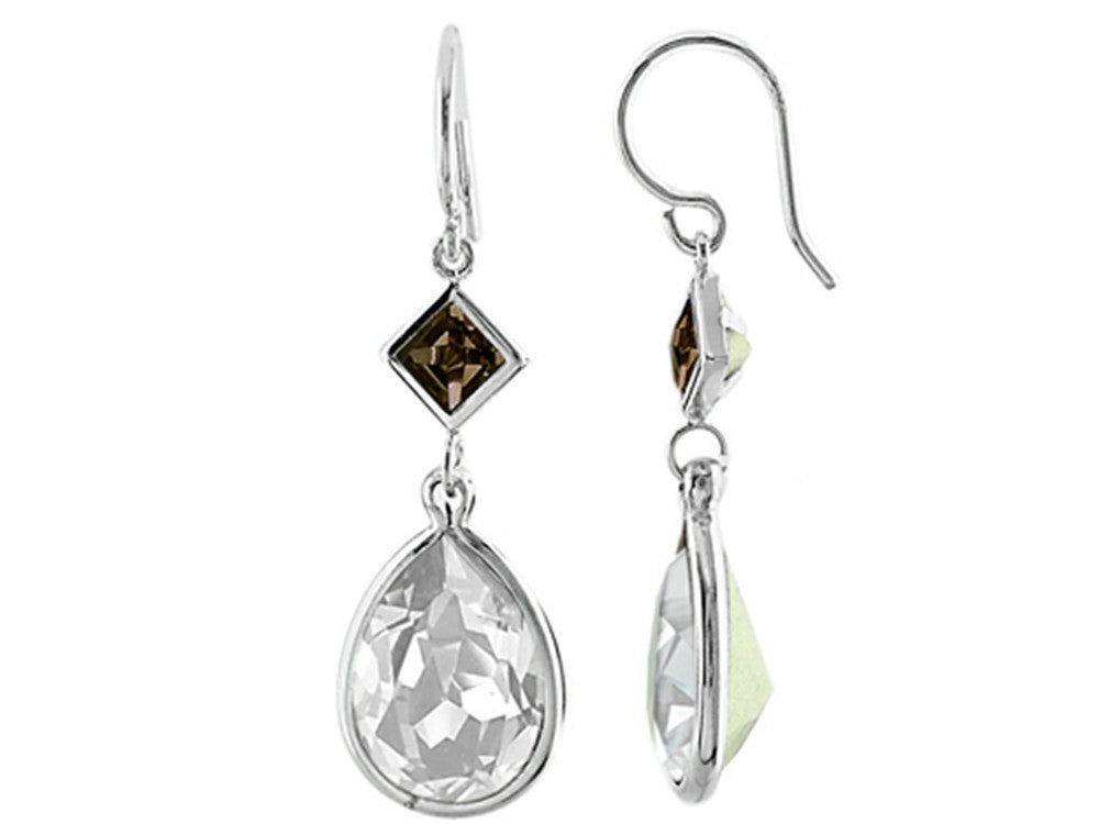 Color Craft 14x10mm Pear Shape Clear with 5mm Square Smoky Color Genuine Swarovski Crystals Drop Ear Wire Earrings