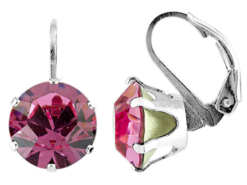 Color Craft 10.5mm Round Rose Color Genuine Swarovski Crystal Lever Back Earrings
