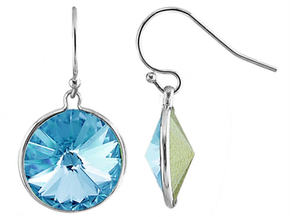 Color Craft 14mm Round Genuine Swarovski Crystal Aquamarine Color Drop Ball Ear Wire Earrings