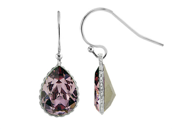 Color Craft 14x10mm Pear Shape Antique Pink Genuine Swarovski Crystal Drop Ear Wire Earrings