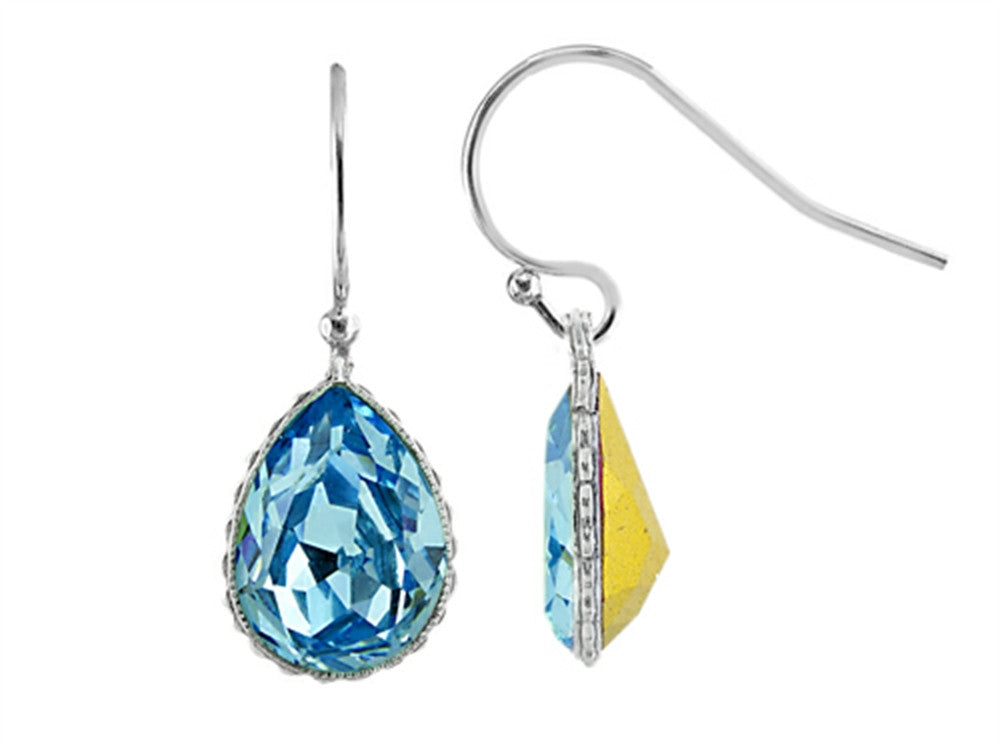 Color Craft 14x10mm Pear Shape Light Blue Genuine Swarovski Crystal Aquamarine Color Drop Ear Wire Earrings