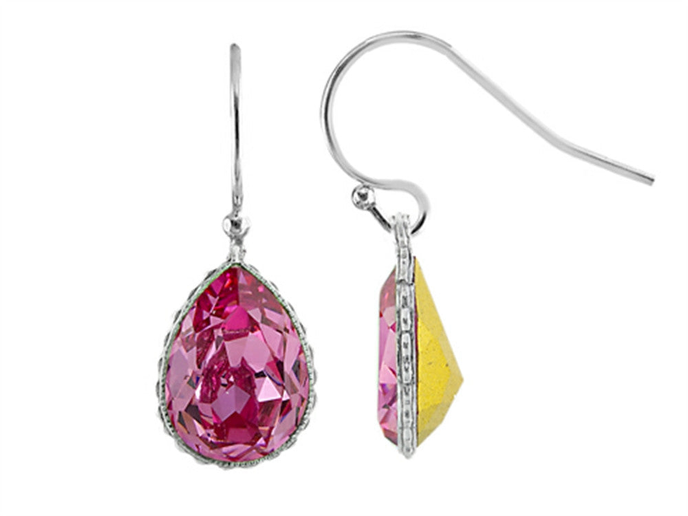 Color Craft 14x10mm Pear Shape Rose Genuine Swarovski Crystal Ear Wire Earrings