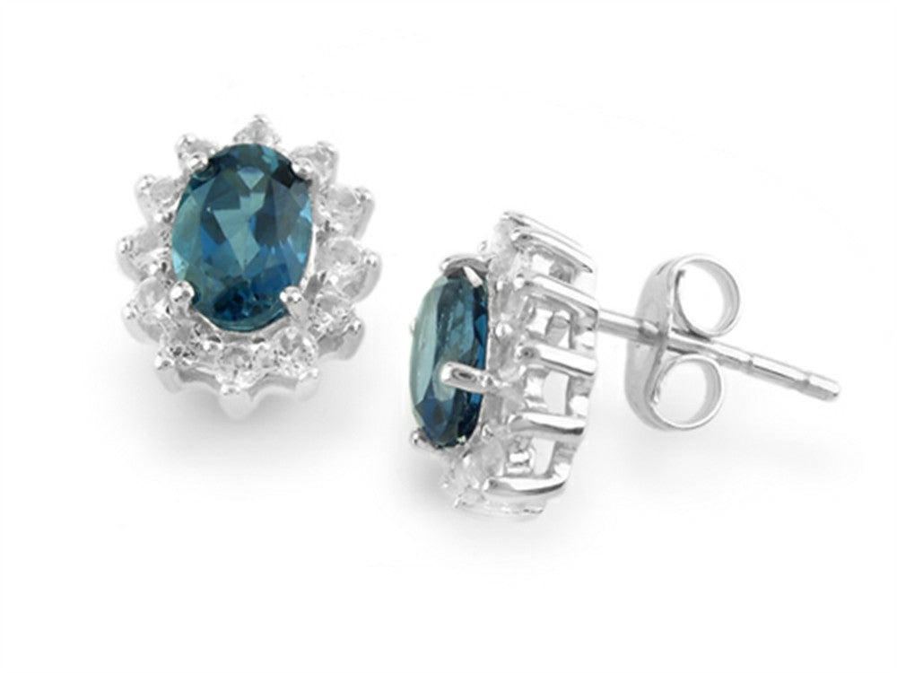925 Sterling Silver Oval London Blue Topaz and White Topaz Earrings