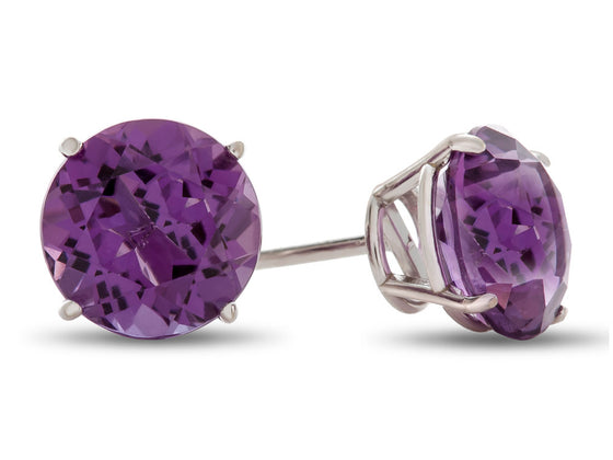 6x6mm Round Amethyst Post-With-Friction-Back Stud Earrings