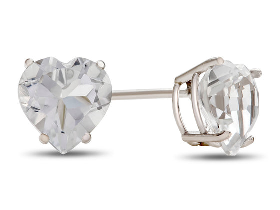 6x6mm Heart Shaped White Topaz Post-With-Friction-Back Stud Earrings