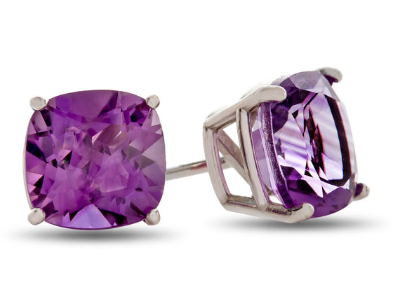 6x6mm Cushion Amethyst Post-With-Friction-Back Stud Earrings