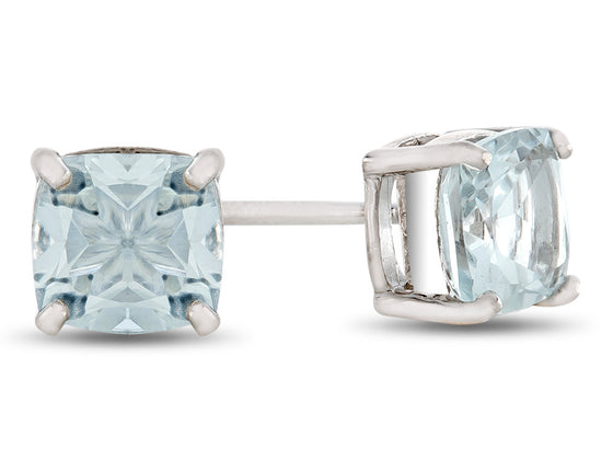 6x6mm Cushion White Topaz Post-With-Friction-Back Stud Earrings