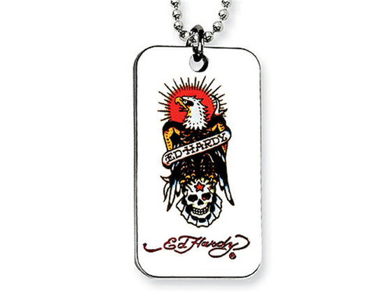Ed Hardy Eagle and Skull Dog Tag Painted Necklace