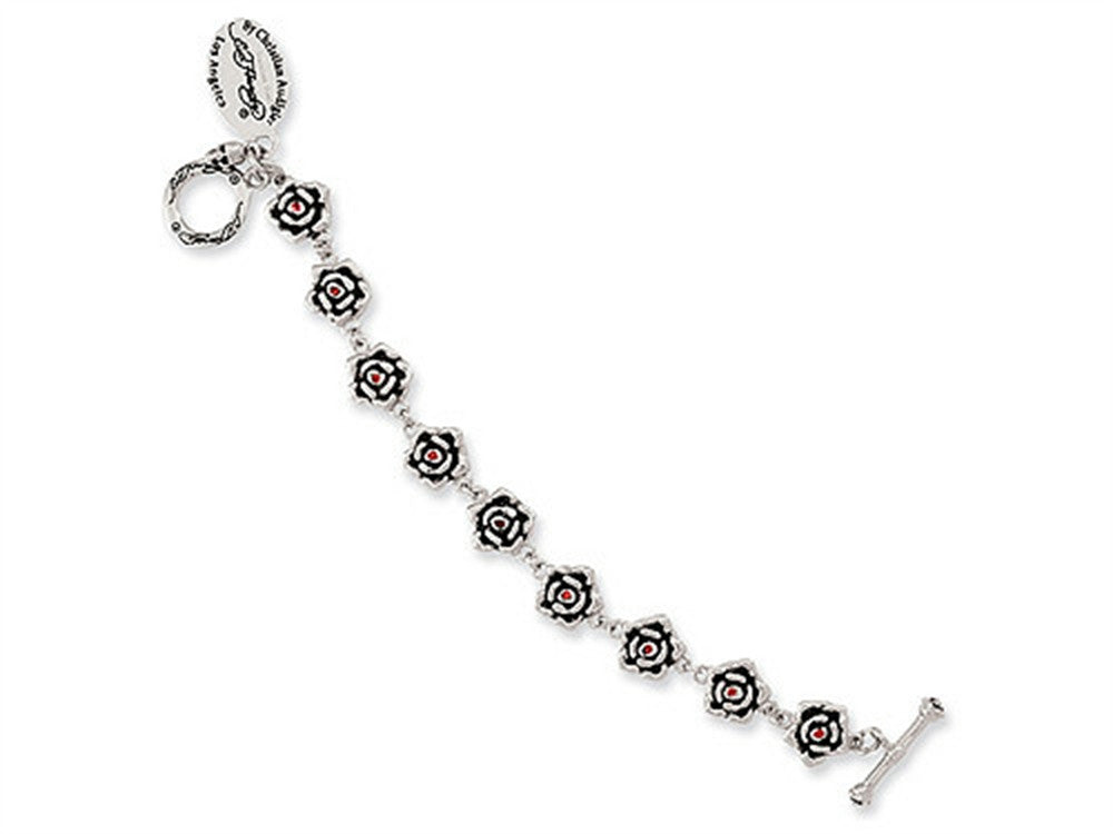Stainless Steel Ed Hardy Roses w/Red CZ Toggle Bracelet