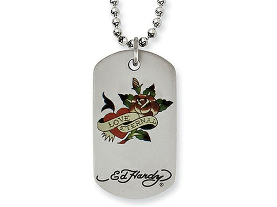 Stainless Steel Ed Hardy Love Eternal Dog Tag Painted Necklace