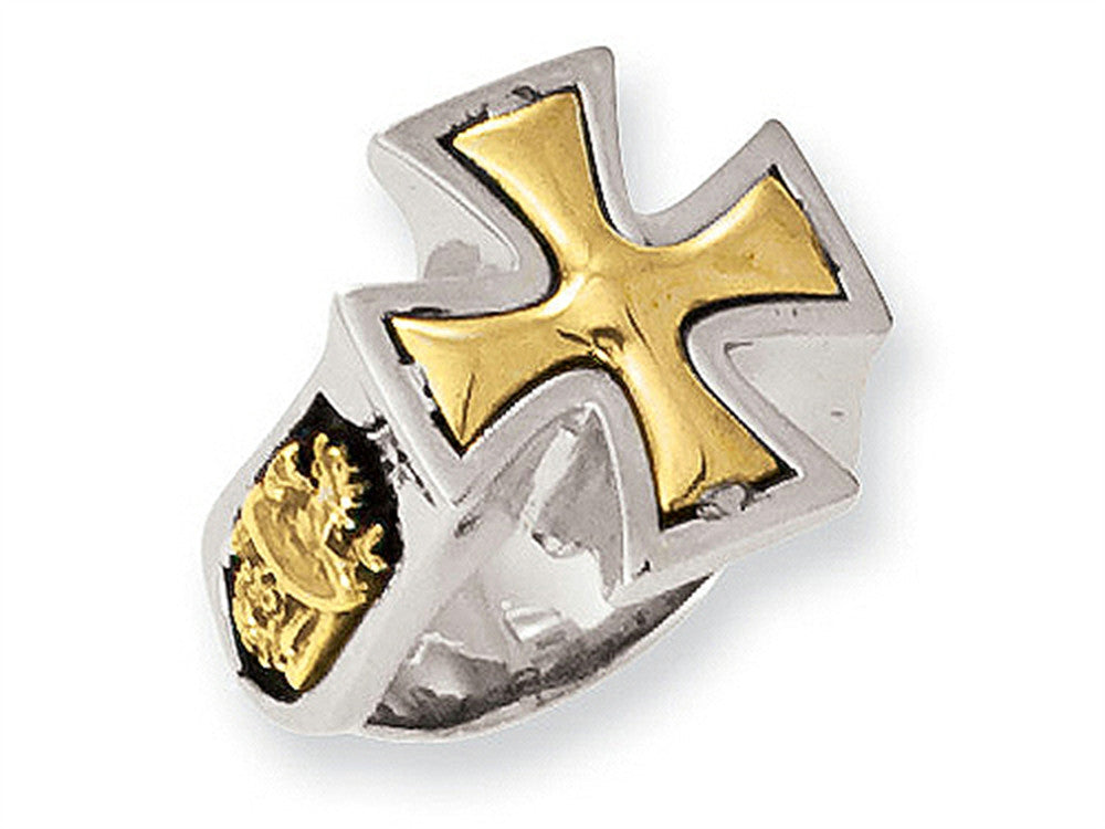 Stainless Steel Ed Hardy Bronze Maltese Cross Ring