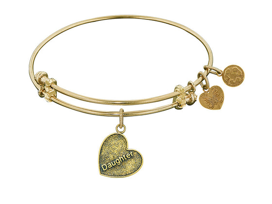 "Angelica Collection Antique Yellow Stipple Finish Brass ""daughter Heart"" Expandable Bangle Complementing GEL1004"
