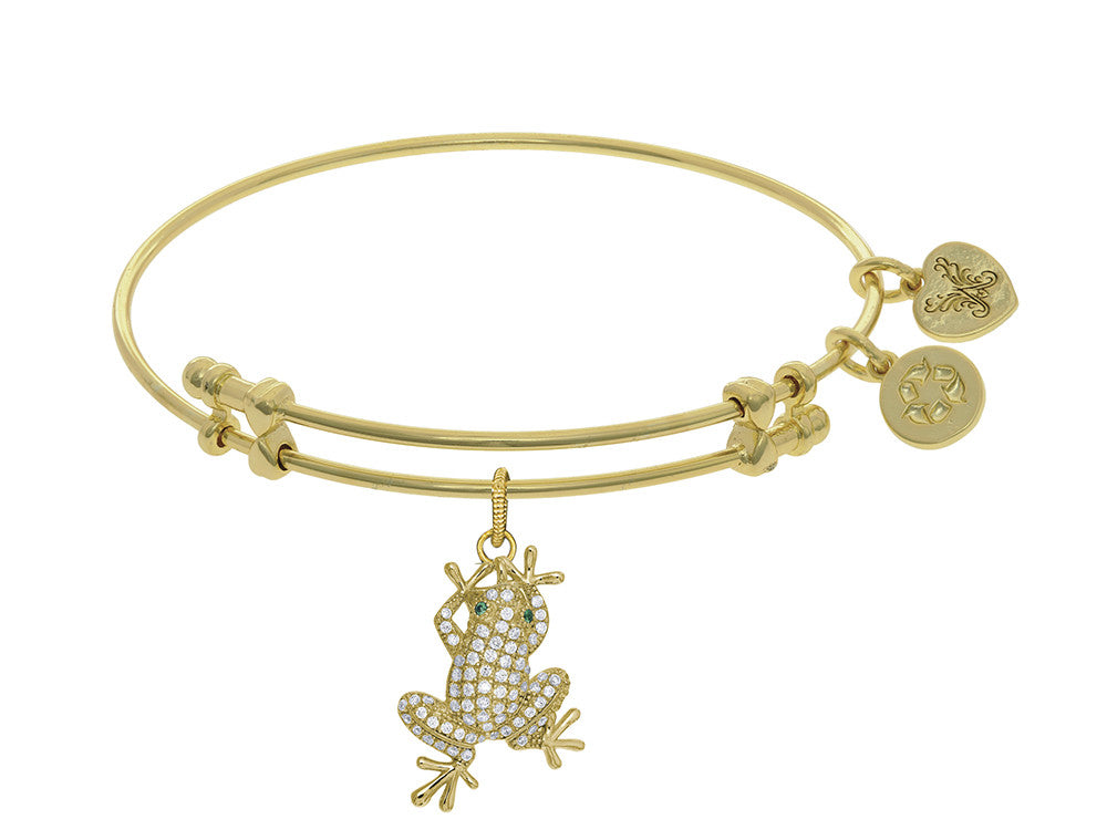 Brass With Yellow Finish Frog Charm With White CZ On Yellow Angelica Collection Bangle