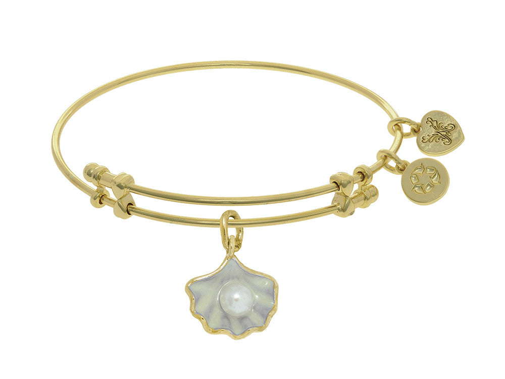 Brass With Yellow Shell Enamel Charm On Yellow Angelica Collection Bangle