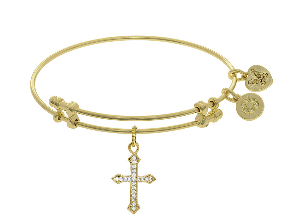 Brass With Yellow Finish Cross Charm On Yellow Angelica Collection Bangle