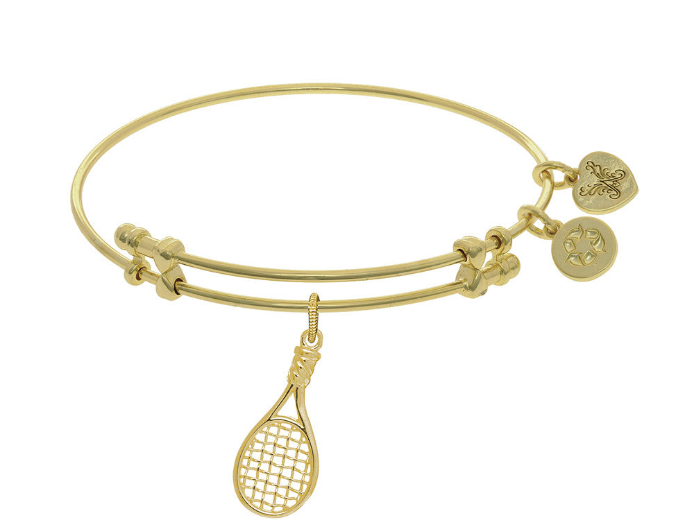 Brass With Yellow Tennis Raquet Charm On Yellow Angelica Collection Bangle