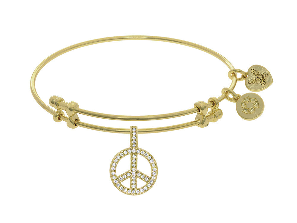 Brass With Yellow Peace Charm With CZ On Yellow Angelica Collection Bangle
