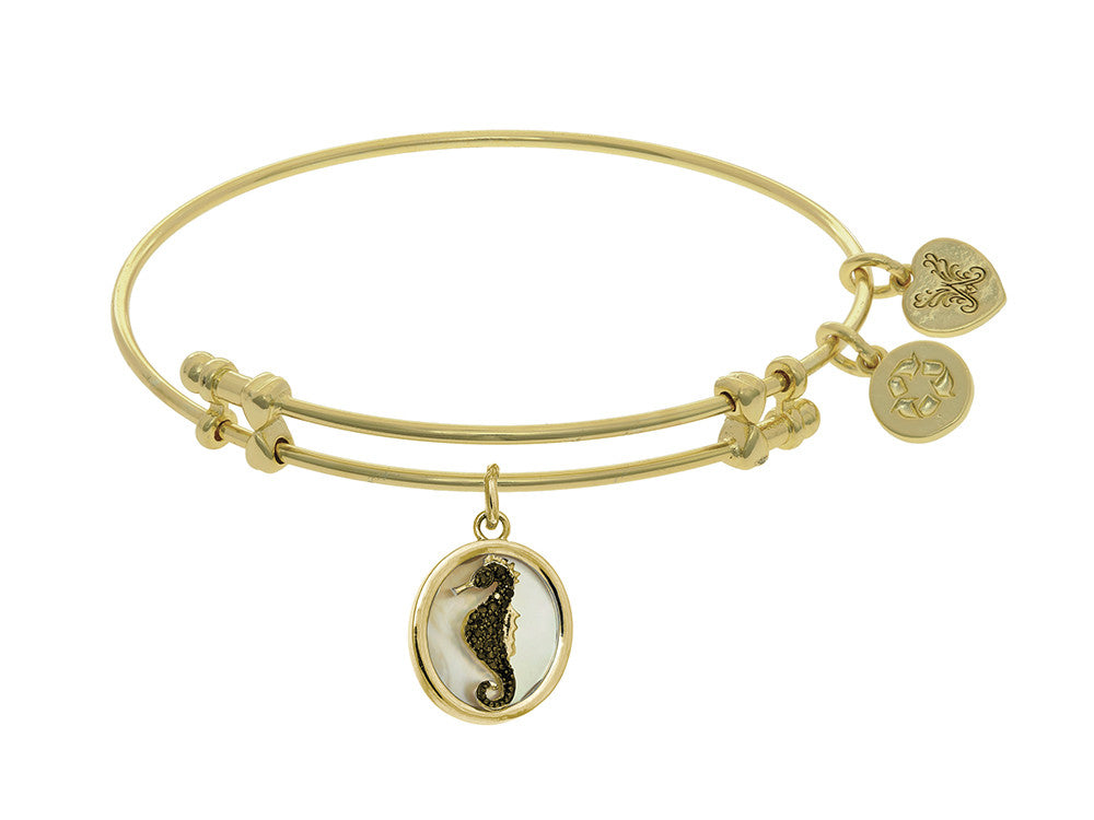 Brass With Oval Sea Horse With Black CZ On Created Mop On Yellow Angelica Collection Bangle
