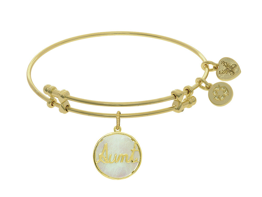 Brass With Round Aunt With Created Mop On Yellow Angelica Collection Bangle