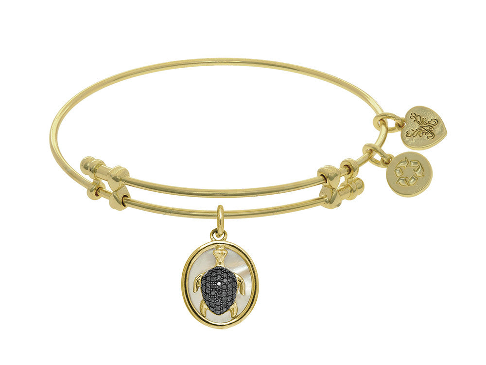 Brass With Oval Turtle With Black CZ With Created +mop On Yellow Angelica Collection Bangle