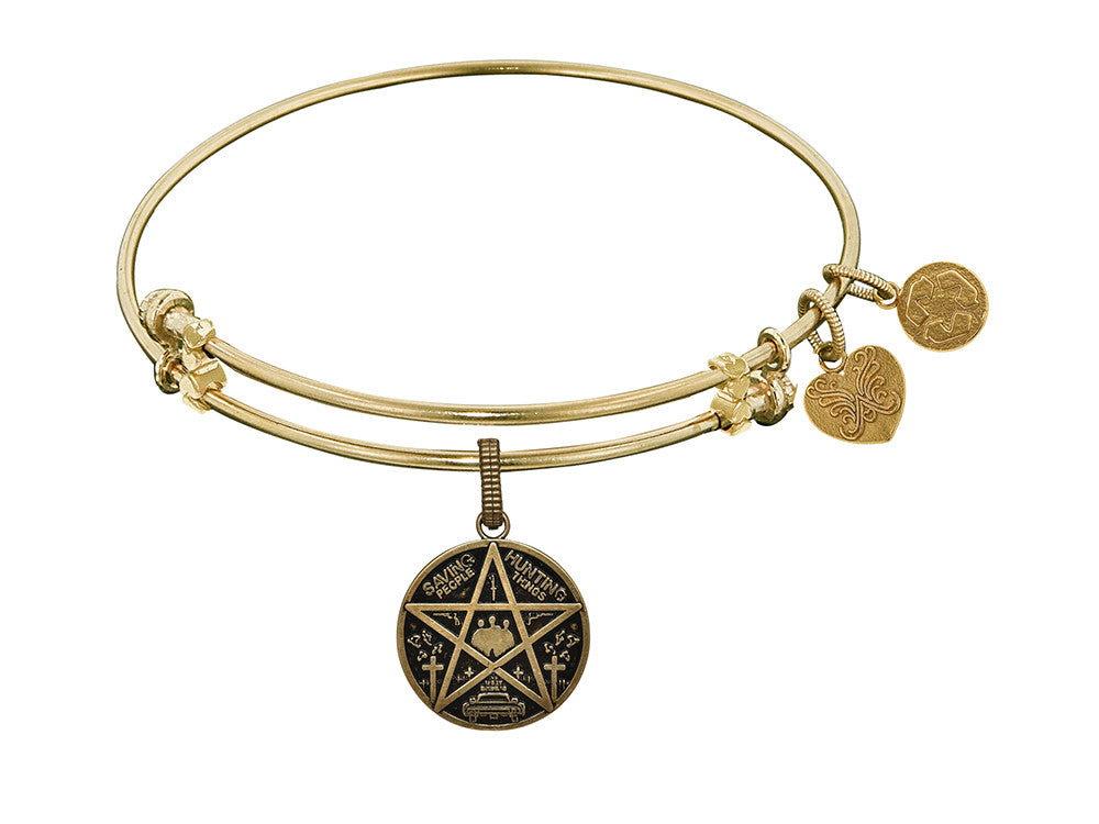 Brass Yellow Supernatural Saving People, Hunting Thing Charm For Angelica Collection Bangle