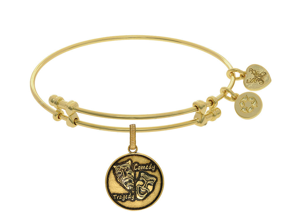 Brass With Yellow Finish Comedy/tragedy Charm For Angelica Collection Bangle