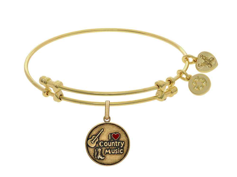 Brass With Yellow Finish I Love Country Music Enamel Charm For Angelica Collection Bangle