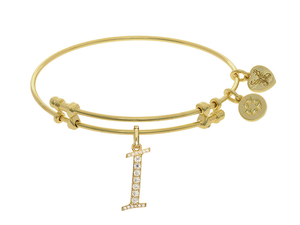 Brass With Yellow Finish  Initial I Charm For Angelica Collection Bangle