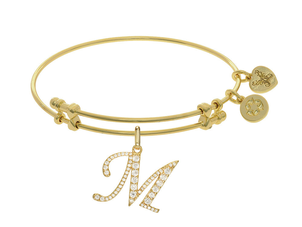 Brass With Yellow Finish  Initial M Charm For Angelica Collection Bangle