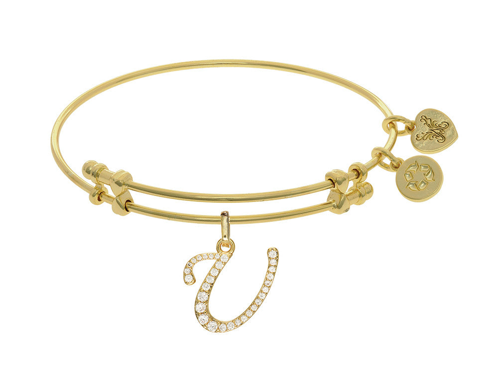 Brass With Yellow Finish  Initial U Charm For Angelica Collection Bangle