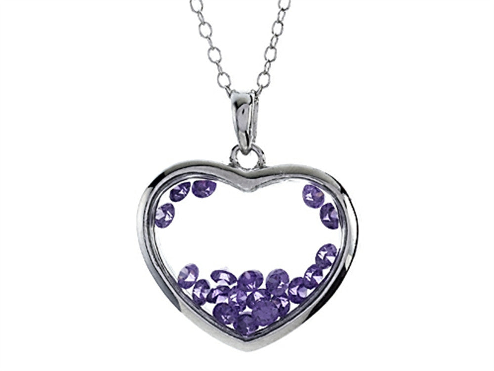 Finejewelers Floating February Birth Months Simulated Amethyst Heart Shape Sterling Silver Glass Pendant Necklace