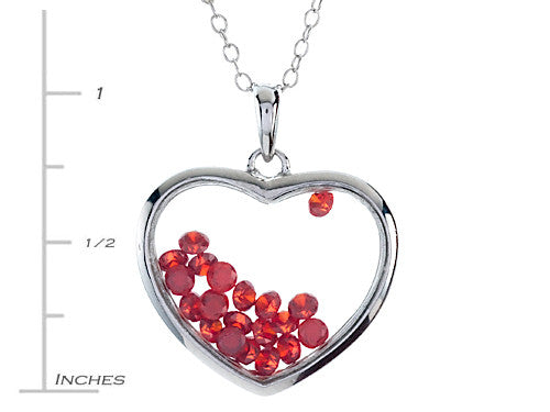 Finejewelers Floating January Birth Months Simulated Garnet Heart Shape Sterling Silver Glass Pendant Necklace