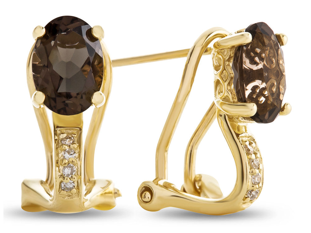 LALI Classics 14kt Yellow Gold Smoky Quartz Oval Earrings
