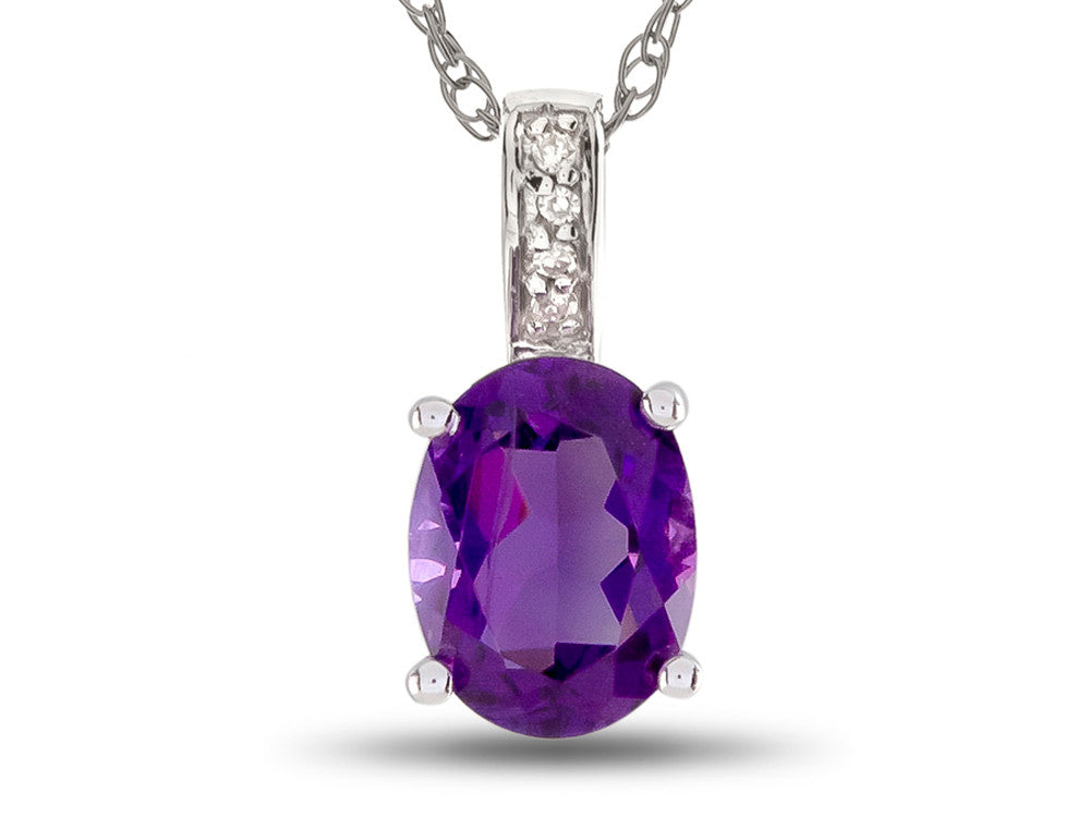 LALI Classics 14kt White Gold Amethyst Oval Pendant Necklace