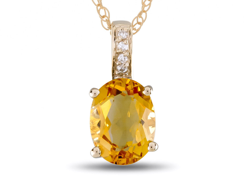 LALI Classics 14kt Yellow Gold Citrine Oval Pendant Necklace