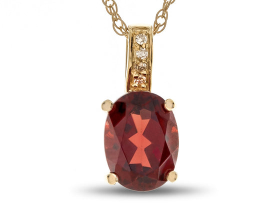 LALI Classics 14kt Yellow Gold Garnet Oval Pendant Necklace