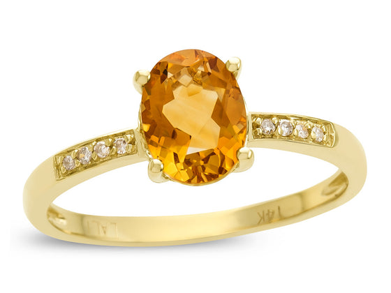 LALI Classics 14kt Yellow Gold Citrine Oval Ring