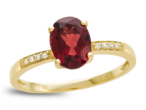 LALI Classics 14kt Yellow Gold Garnet Oval Ring