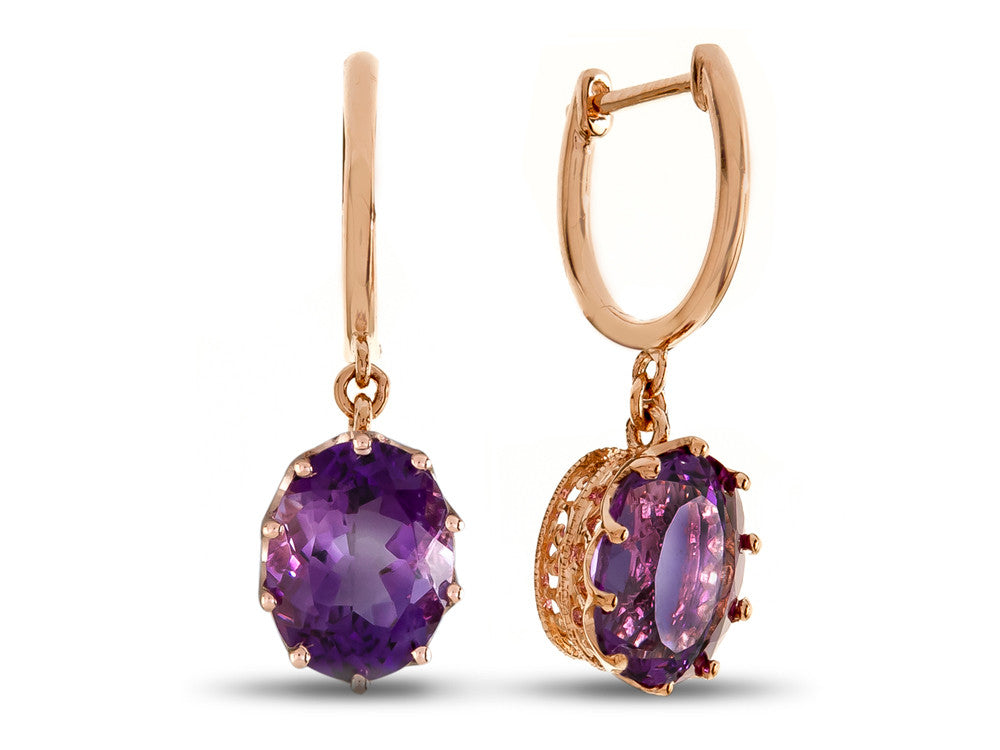 LALI Classics 14kt Rose Gold Amethyst Oval Earrings