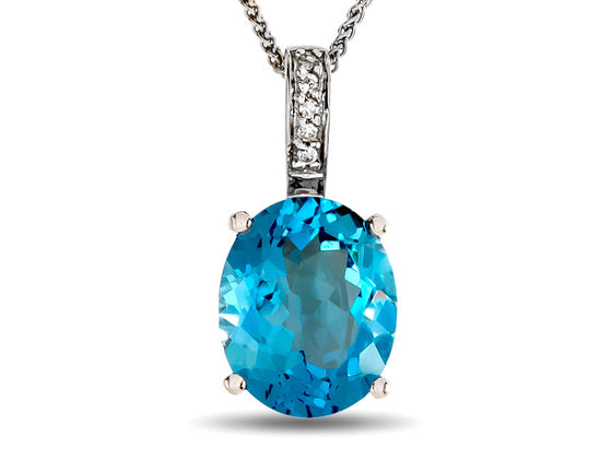 LALI Classics 14kt White Gold Swiss Blue Topaz Oval Pendant Necklace