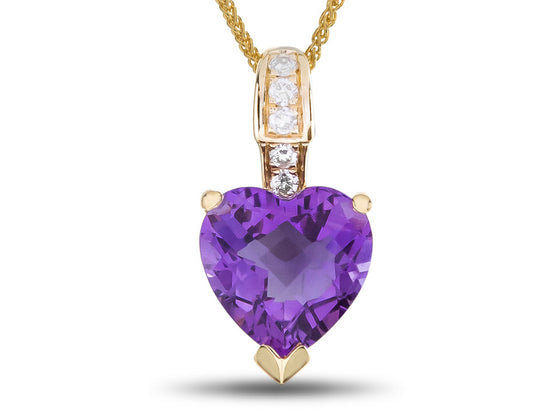 LALI Classics 14kt Yellow Gold Amethyst Heart Shape Pendant Necklace