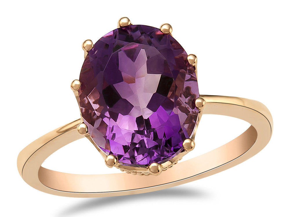 LALI Classics 14kt Rose Gold Amethyst Oval Ring