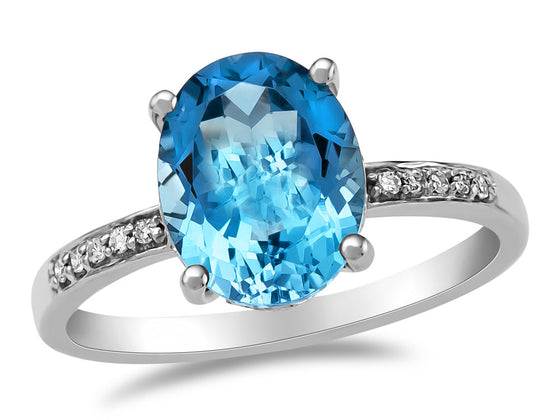 LALI Classics 14kt White Gold Swiss Blue Topaz Oval Ring