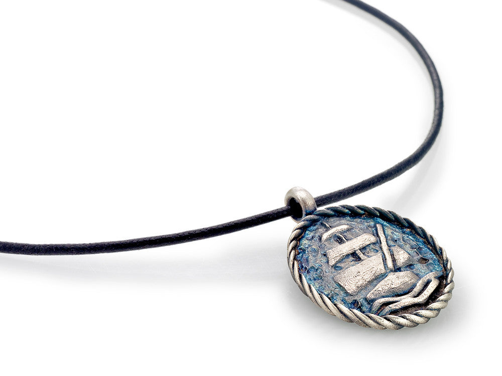 Mariano Di Vaio - Sterling Silver Sailor with Leather Necklace