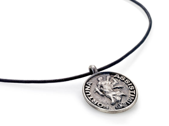 Mariano Di Vaio - Sterling Silver Fortuna Assistimi with Leather Necklace