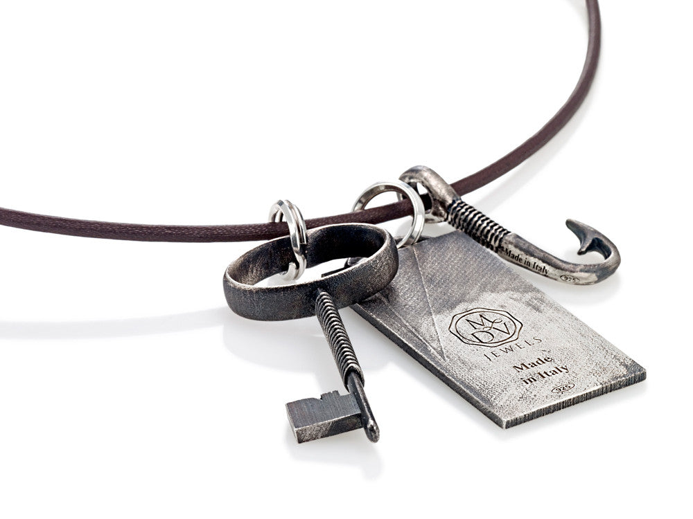 Mariano Di Vaio - Sterling Silver Hunter with Leather Necklace